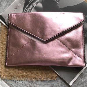 Rebecca Minkoff Pink metallic Leo clutch
